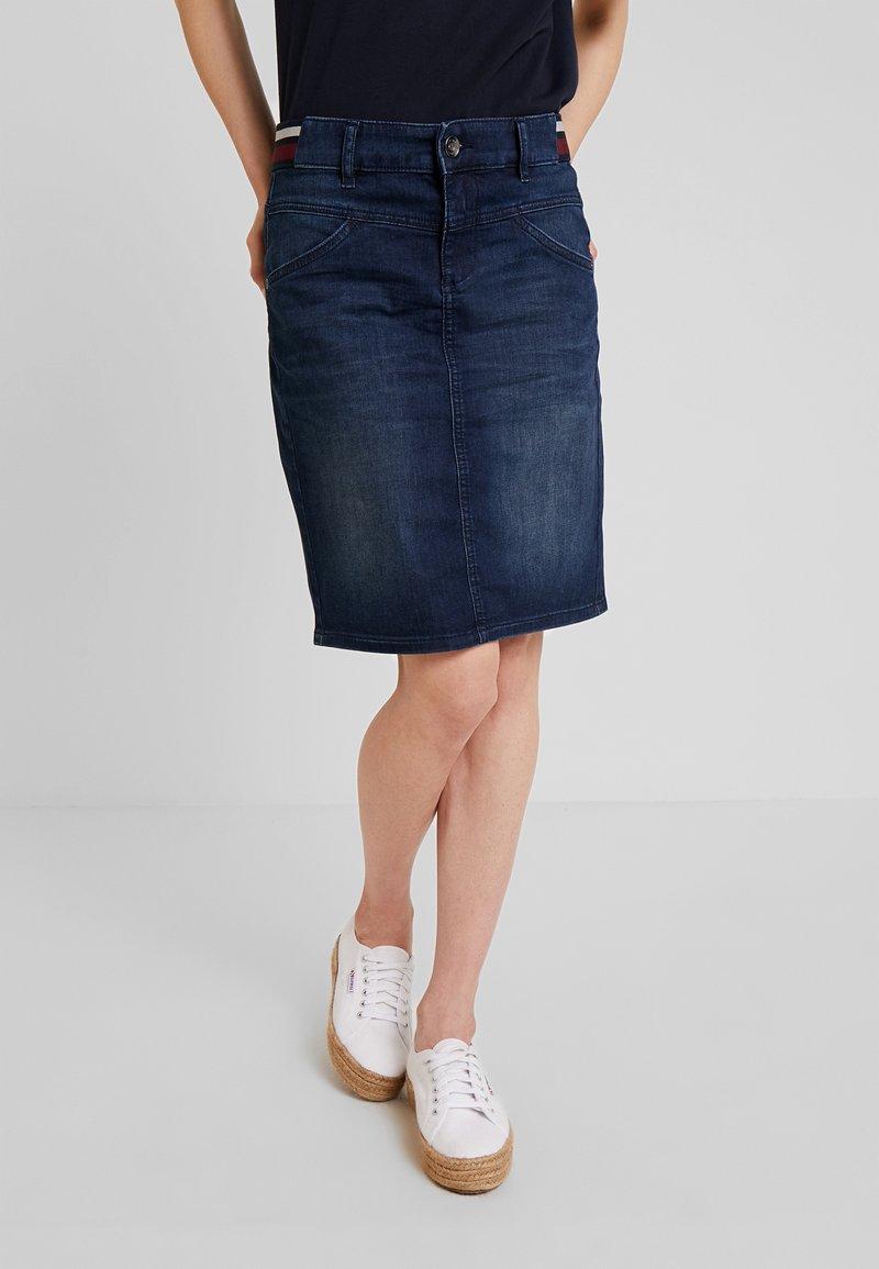 TOM TAILOR - SKIRT BASIC - Pencil skirt - dark blue denim