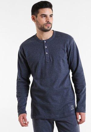 Pyjamashirt - blau dunkel melange