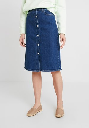 BUTTON SKIRT - Jeansnederdel/ cowboy nederdele - dark blue denim