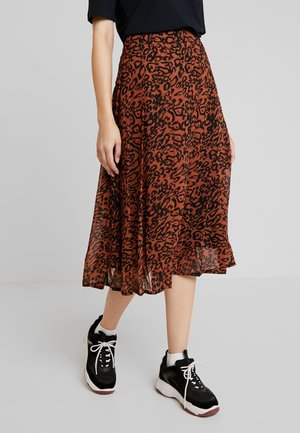 LEOPARDGEORGETTE PLEATED SKIRT - A-snit nederdel/ A-formede nederdele - brown