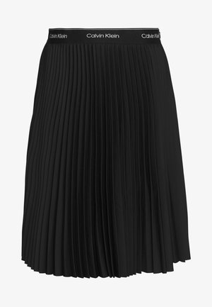 SUNRAY PLEAT MIDI ELASTIC SKIRT - A-line skirt - black