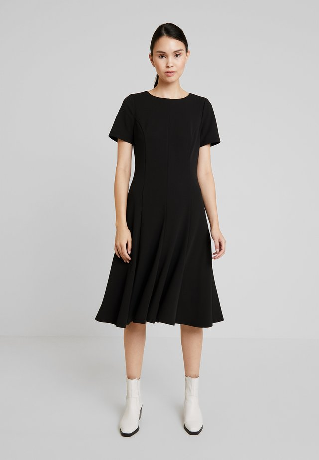 CAP SLEEVE FLARE HEM DRESS - Jerseykleid - black