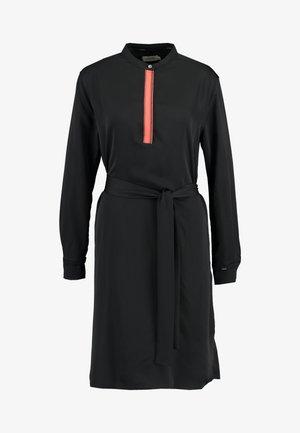 BELTED PLACKET DRESS - Vestido informal - black