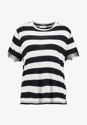 WIDE STRIPE LACE TRIM TEE - T-shirt con stampa - black