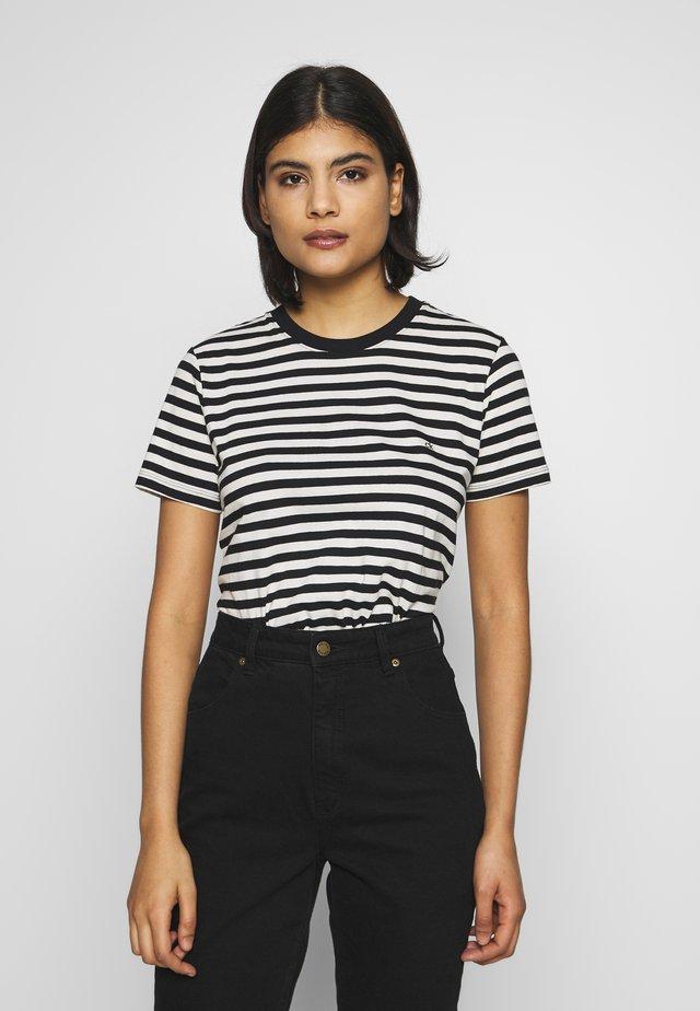 EMBROIDERED LOGO STRIPE - T-shirt print - black/white smoke