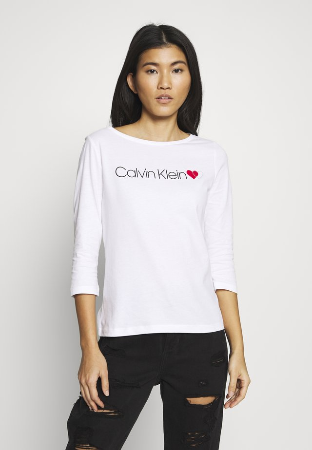 LOGO HEART BOAT NECK - T-shirt à manches longues - bright white