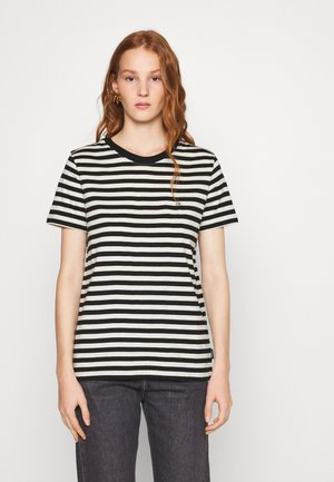 SMALL LOGO STRIPE CREW NECK - Camiseta estampada - black/white