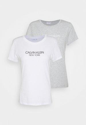 2 PACK - Camiseta estampada - white/mid grey heather