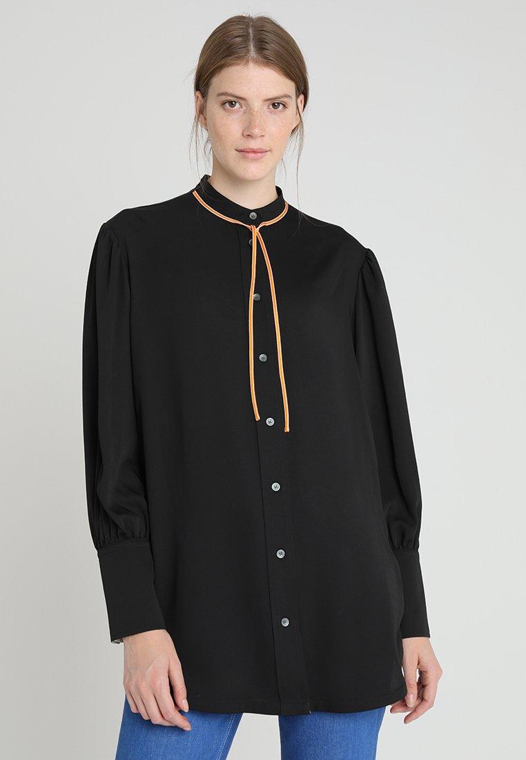 Calvin Klein - MICRO TIE - Button-down blouse - black