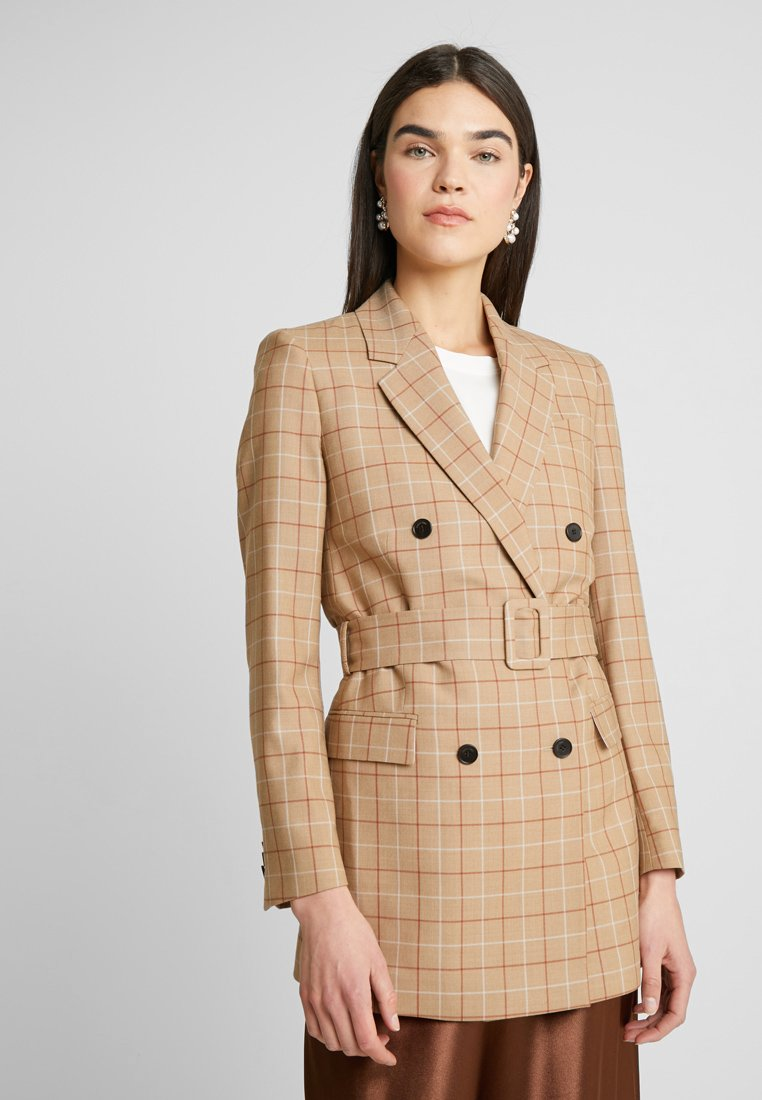 Calvin Klein - WINDOWPANE LONG - Halflange jas - mottled beige