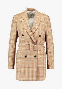 Calvin Klein - WINDOWPANE LONG - Halflange jas - mottled beige - 4
