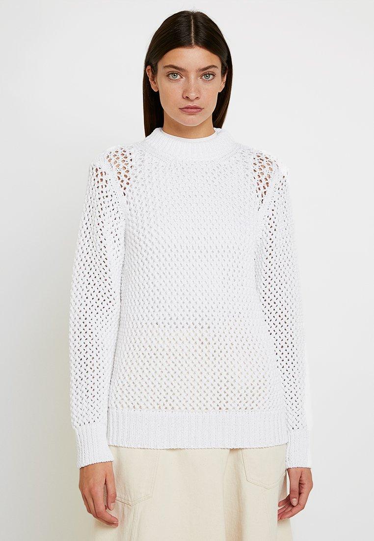 Calvin Klein - NOVEL OPENWORK - Jersey de punto - white