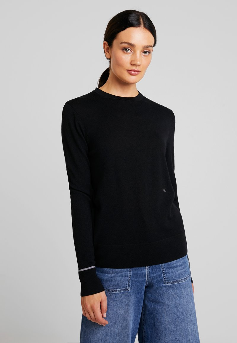 Calvin Klein - SUPERFINE CREW NECK - Strickpullover - black