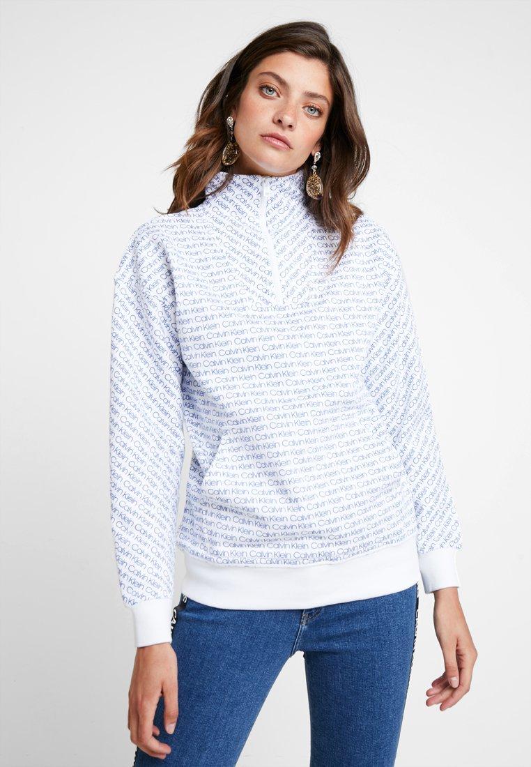 Calvin Klein - ALLOVER LOGO ZIP - Sweatshirts - blue