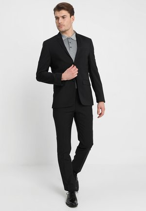 WOOL NATURAL STRETCH FITTED SUIT - Oblek - perfect black