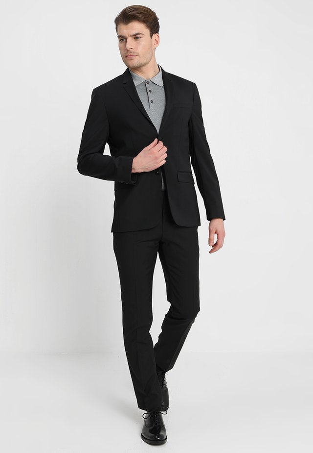 WOOL NATURAL STRETCH FITTED SUIT - Kostym - perfect black