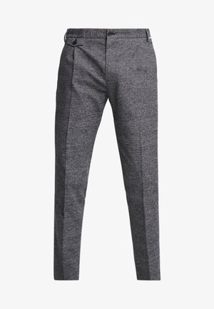 TAPERED FIT CHECK PANT - Trousers - black