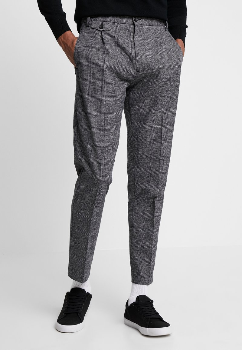 Calvin Klein - TAPERED FIT CHECK PANT - Trousers - black