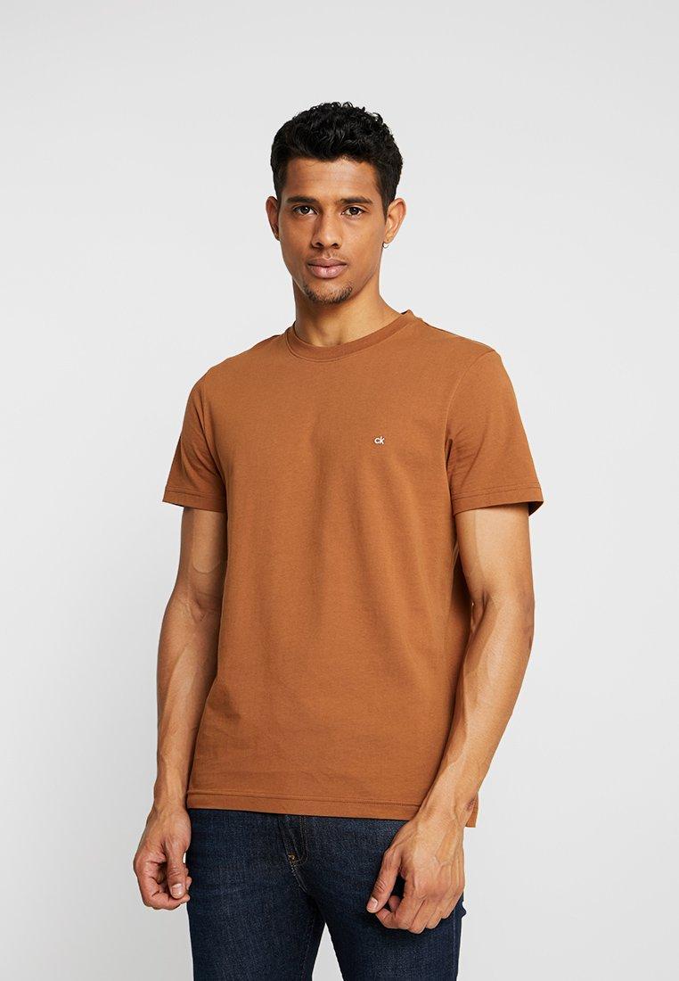 Calvin Logo Basic EmbroideryT Brown Klein shirt shrdxBQCot