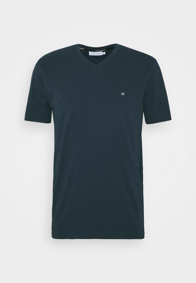 V-NECK CHEST LOGO - T-shirt - bas - blue