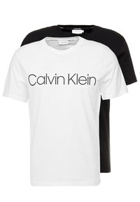 Calvin Klein - FRONT LOGO 2 PACK - T-shirt z nadrukiem - black/white - 0