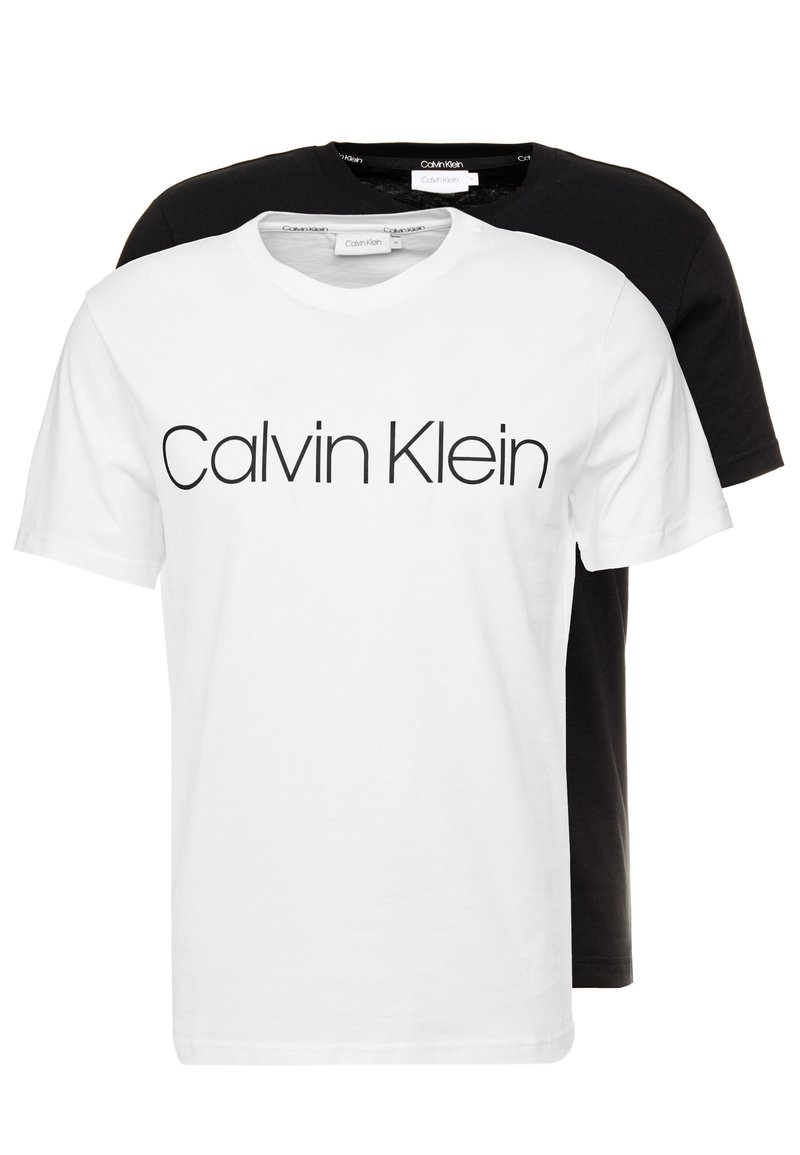 Calvin Klein - FRONT LOGO 2 PACK - T-shirt z nadrukiem - black/white