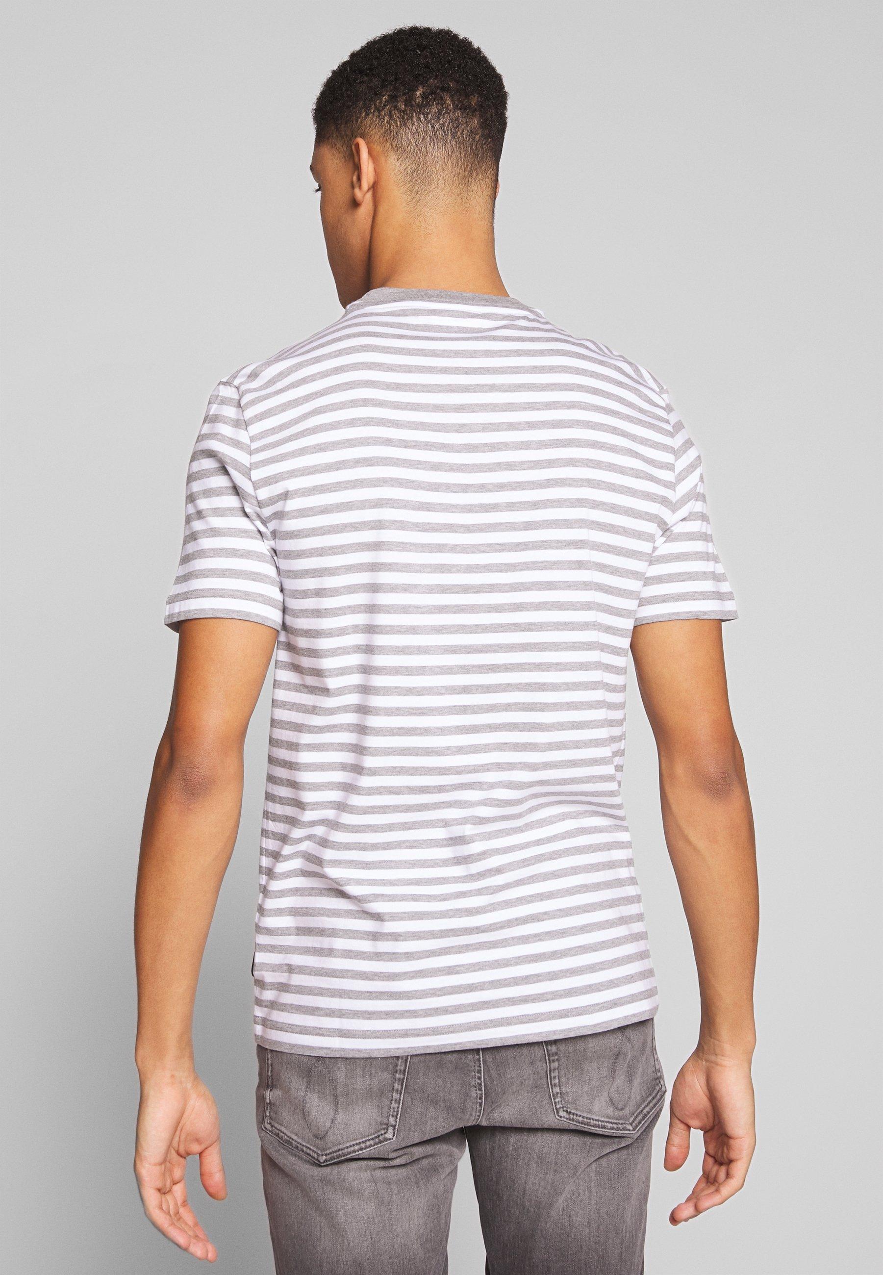 Calvin Klein Stripe Chest Logo - T-shirt Con Stampa White/grey Pk7oWym