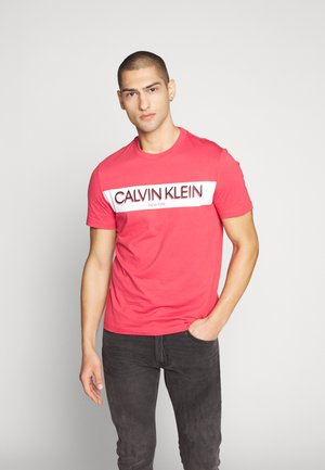 STRIPE LOGO - Print T-shirt - red