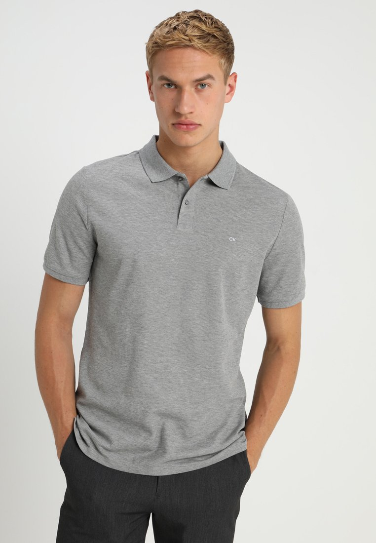 Calvin Klein - REFINED CHEST LOGO - Polo shirt - mid grey heather