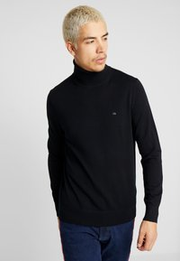 Calvin Klein Tailored - SUPERIOR TURTLE NECK - Neule - black - 0