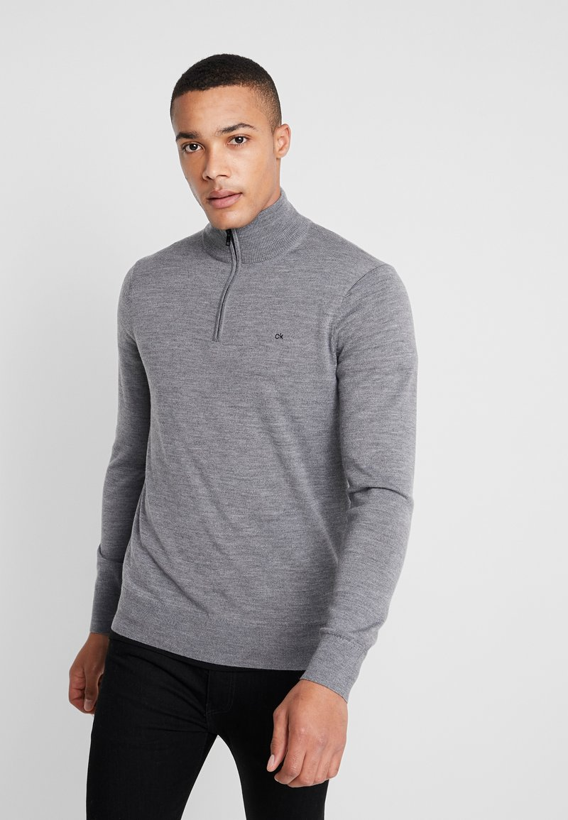 Calvin Klein - SUPERIOR ZIP MOCK - Jumper - grey
