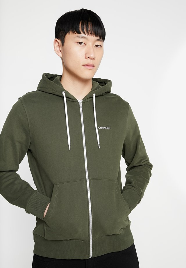 EMBROIDERY ZIP-THROUGH HOODIE - Huvtröja med dragkedja - green