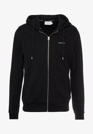 EMBROIDERY ZIP-THROUGH HOODIE - Mikina na zip - black