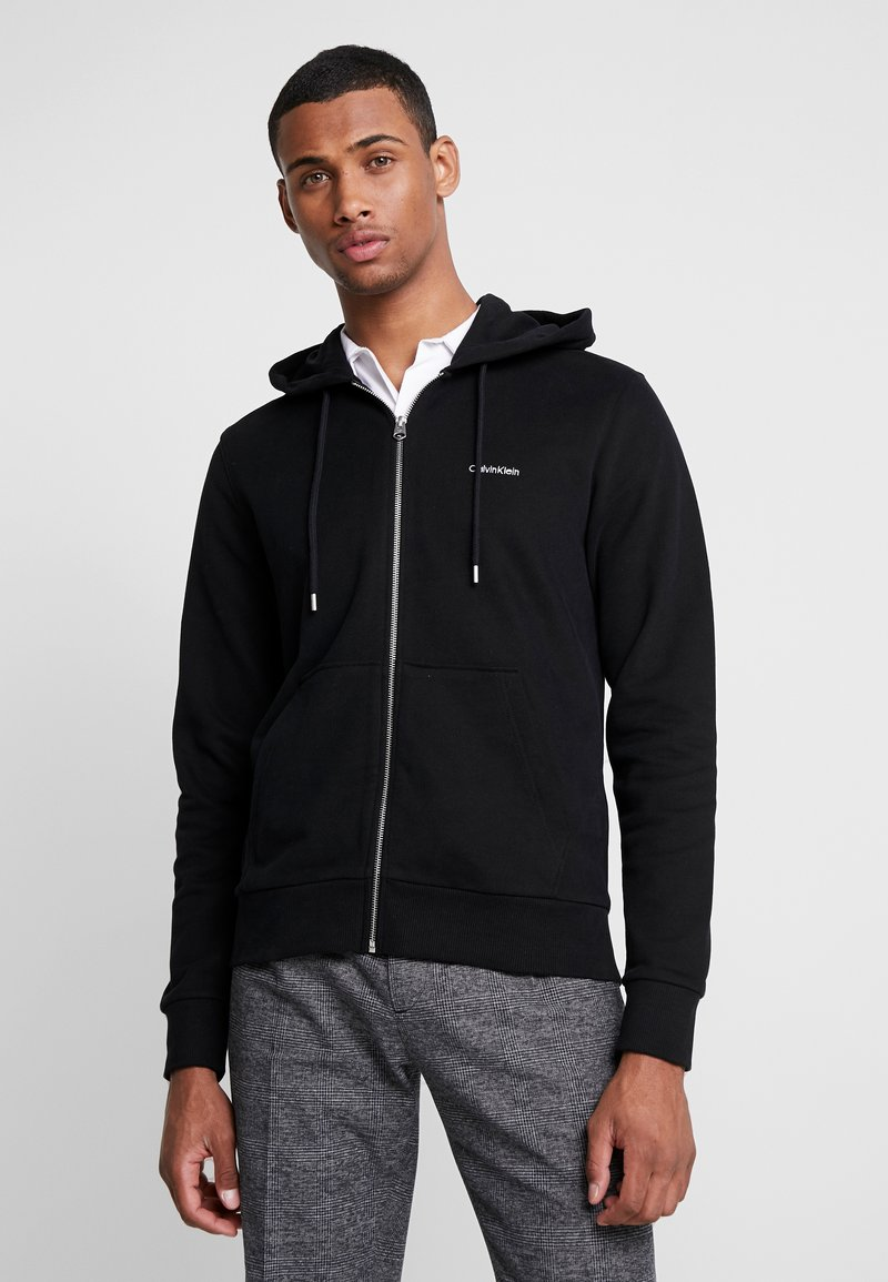 Calvin Klein - EMBROIDERY ZIP-THROUGH HOODIE - Huvtröja med dragkedja - black