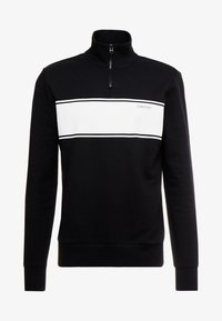 Calvin Klein - COLOR BLOCK LOGO ZIP MOCK - Mikina na zip - black