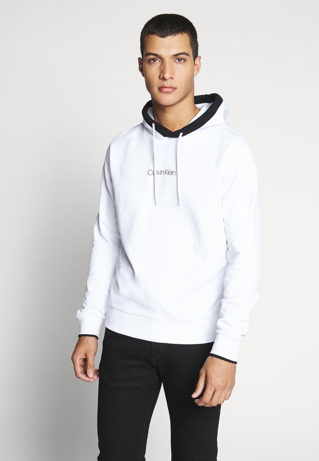 SMALL LOGO TIPPING HOODIE - Bluza z kapturem - white