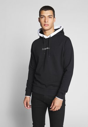 SMALL LOGO TIPPING HOODIE - Bluza z kapturem - black