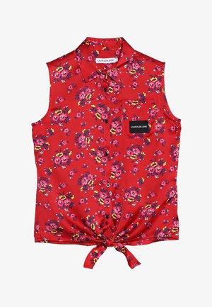 FLOWER FRONT KNOT - Skjortebluser - red