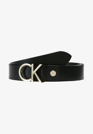 LOGO BELT - Cintura - black/light gold-coloured