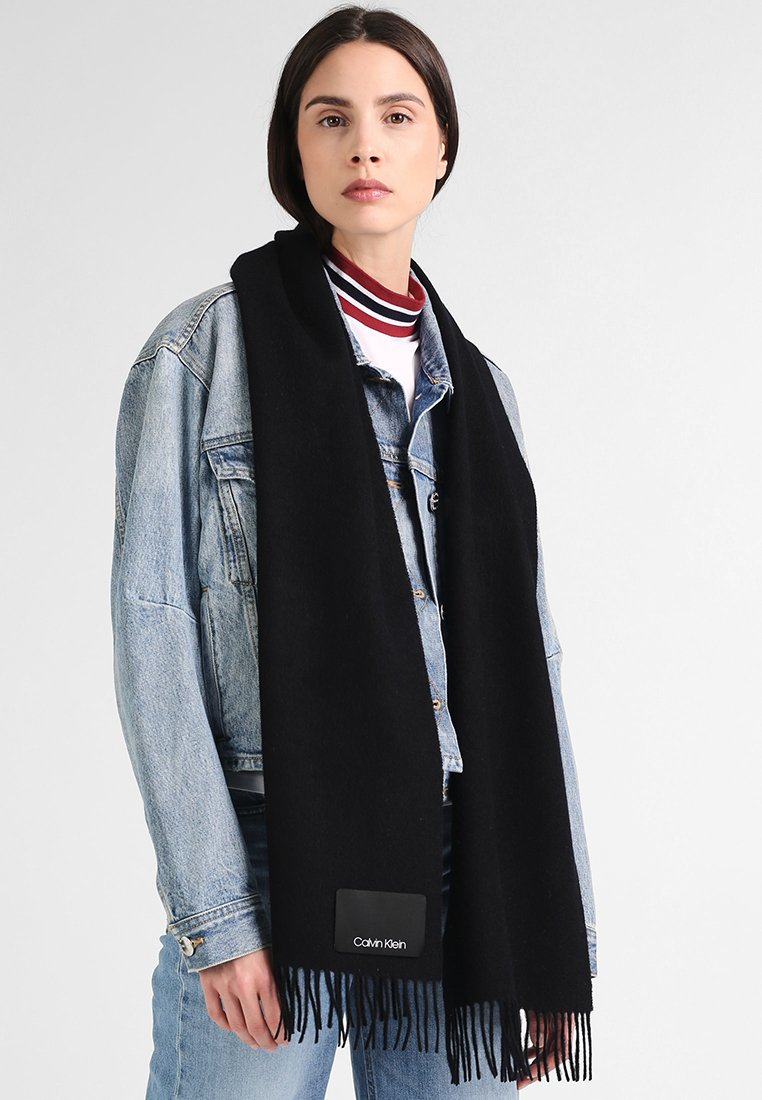 Calvin Klein - FRINGES SCARF - Bufanda - black