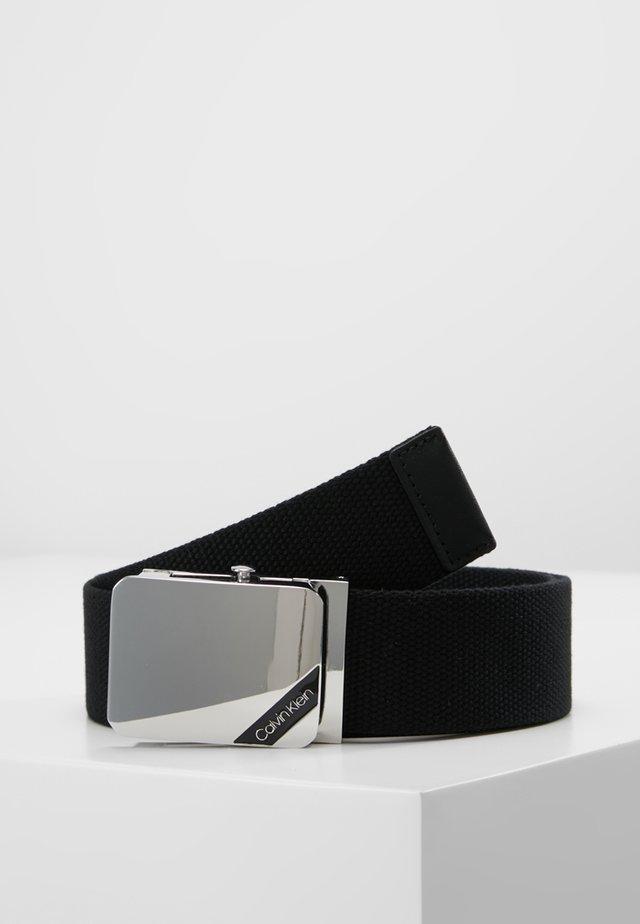 WEBBING PLAQUE BELT - Pasek - black