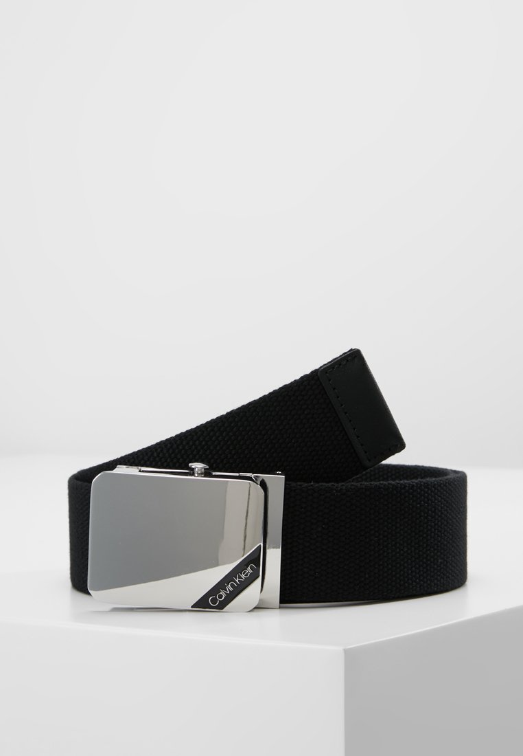 Calvin Klein - WEBBING PLAQUE BELT - Pásek - black