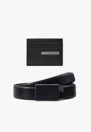CARBON GIFTSET WALLET BELT SET - Pásek - black