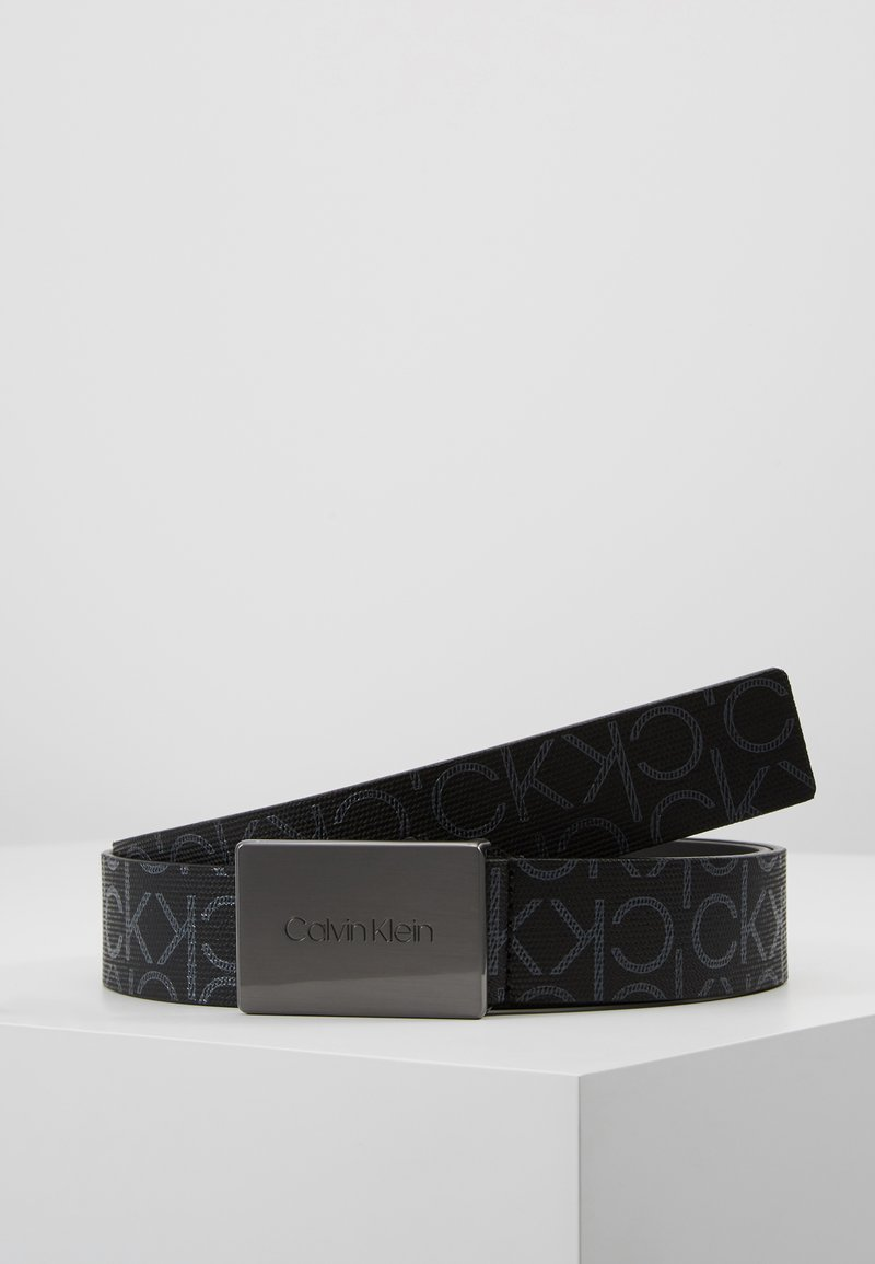 Calvin Klein - PLAQUE MONOGRAM BELT - Belt - black