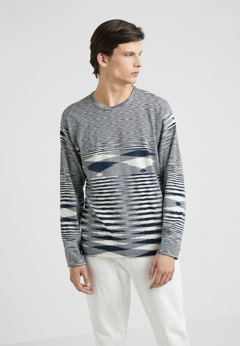 Missoni - LONG SLEEVE CREW NECK - Strikkegenser - blue/white