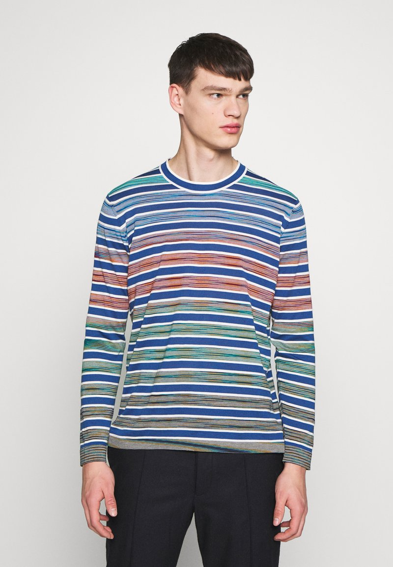 Missoni - LONG SLEEVE CREW NECK - Jersey de punto - blue/multi-coloured