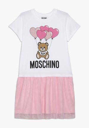 DRESS - Jersey dress - white/pink
