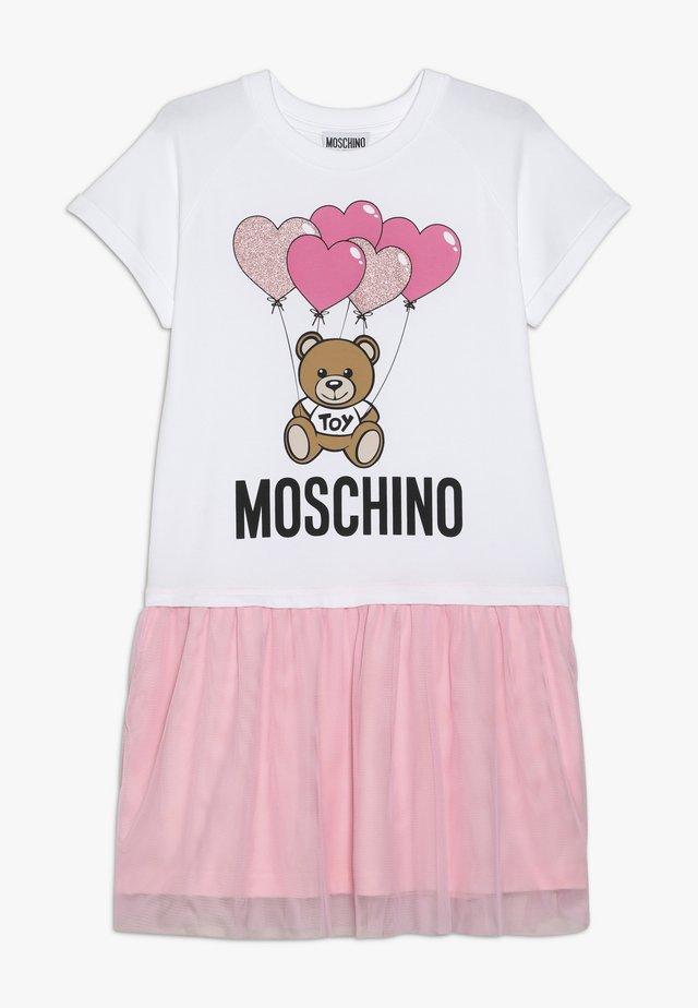 DRESS - Trikoomekko - white/pink