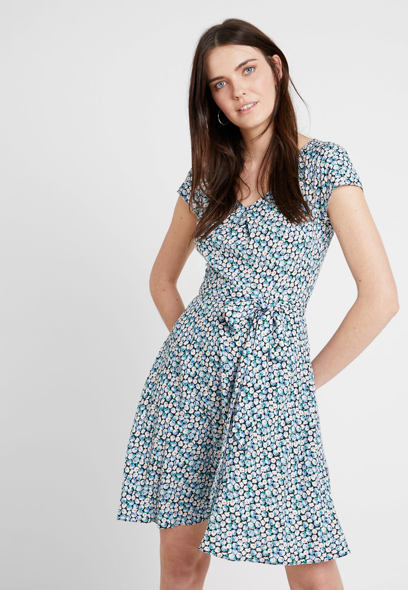 Dorothy Perkins - SHORT SLEEVE DIASY PRINT V NECK SOFT BELTED DRESS - Day dress - blue/white