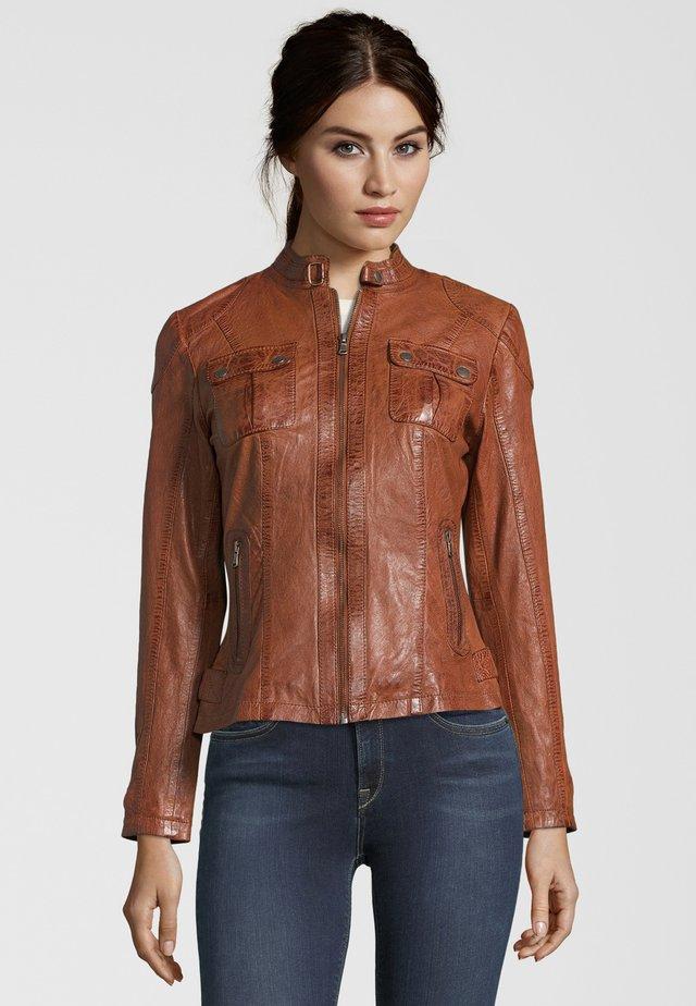 ANITA  - Leather jacket - tobacco